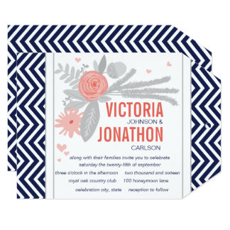Coral Navy and Grey Zig Zag Typography Wedding Card
