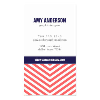 Coral & Navy Blue Modern Chevron Stripes Double-Sided Standard Business Cards (Pack Of 100)