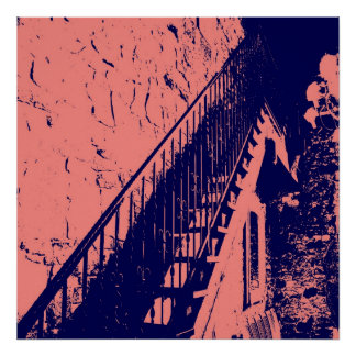 Coral/Navy Blue Stairs Poster