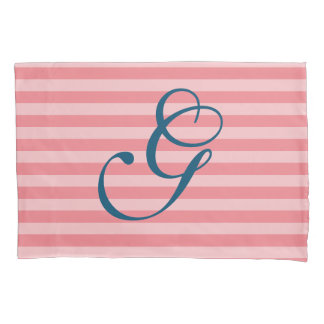 Coral navy blue striped monogram letter pillowcase