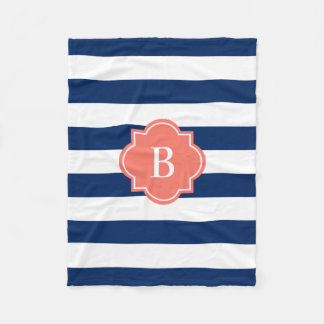 Coral & Navy Monogram Stripe | Fleece Blanket