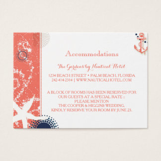 Coral & Navy Nautical Wedding Accommodations