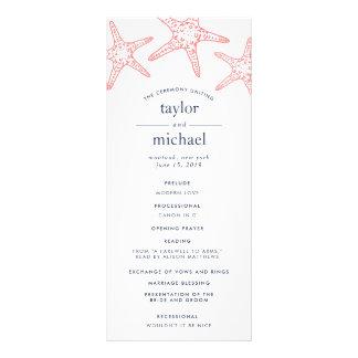 Coral & Navy Starfish Wedding Ceremony Program Rack Card