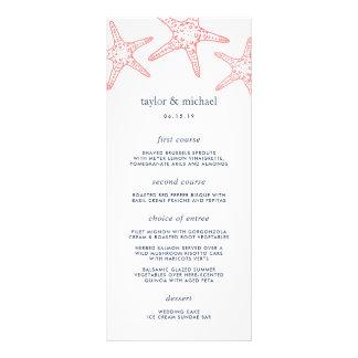 Coral & Navy Starfish Wedding Menu Card