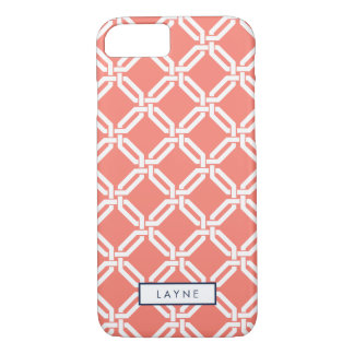 Coral Octagon Link Pattern iPhone 7 Case