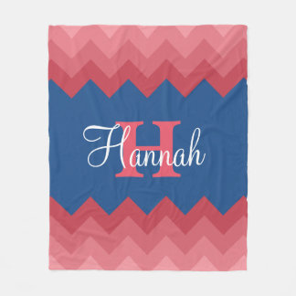 Coral Ombre Chevrons Monogram Fleece Blanket