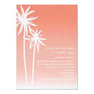 Coral Ombré Palm Trees Beach Wedding 11 Cm X 16 Cm Invitation Card
