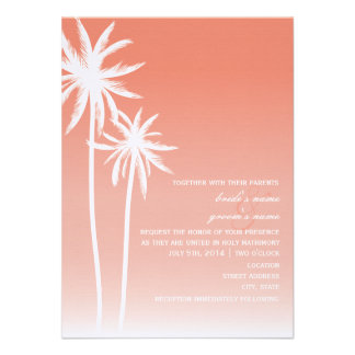 Coral Ombré Palm Trees Beach Wedding Announcements