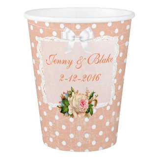 Coral or Peach and White Wedding Paper Cups