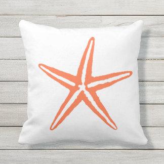 Coral Orange and White Starfish Pillow