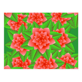 Coral Orange Camellias and Green Leaves Postcard