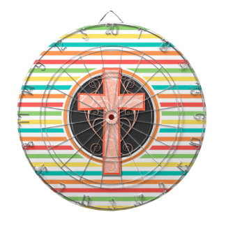 Coral Orange Cross Bright Rainbow Stripes Dart Board