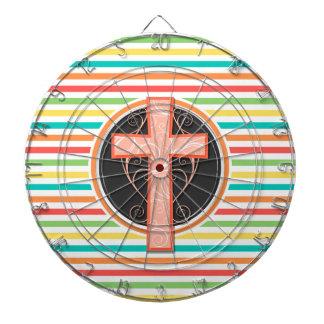 Coral Orange Cross; Bright Rainbow Stripes Dartboards