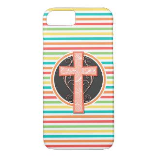 Coral Orange Cross; Bright Rainbow Stripes iPhone 8/7 Case