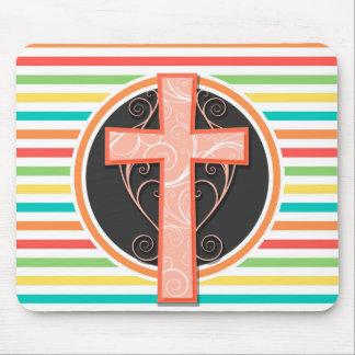 Coral Orange Cross; Bright Rainbow Stripes Mousepad