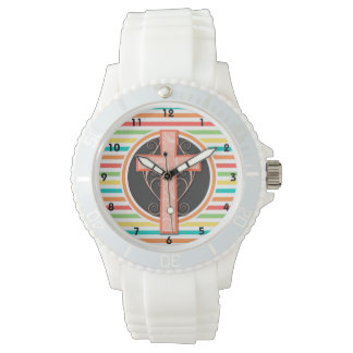 Coral Orange Cross; Bright Rainbow Stripes Watches