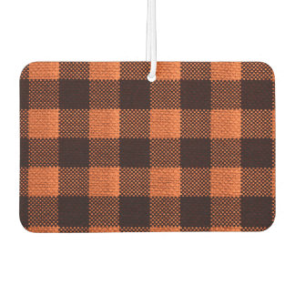 Coral Orange Gingham Checkered Pattern Burlap Look Car Air Freshener