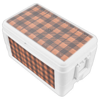 Coral Orange Gingham Checkered Pattern Burlap Look Chest Cooler