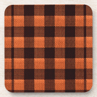 Coral Orange Gingham Checkered Pattern Burlap Look Coaster