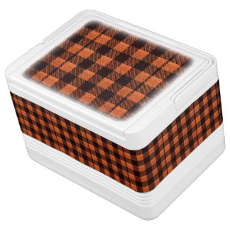 Coral Orange Gingham Checkered Pattern Burlap Look Cooler