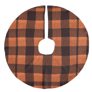 Coral Orange Gingham Checkered Pattern Burlap Look Faux Linen Tree Skirt