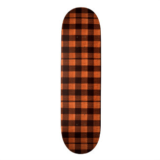 Coral Orange Gingham Checkered Pattern Burlap Look Skateboard Decks