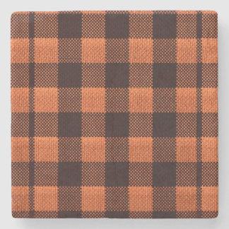 Coral Orange Gingham Checkered Pattern Burlap Look Stone Coaster