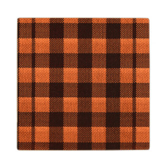 Coral Orange Gingham Checkered Pattern Burlap Look Wood Coaster