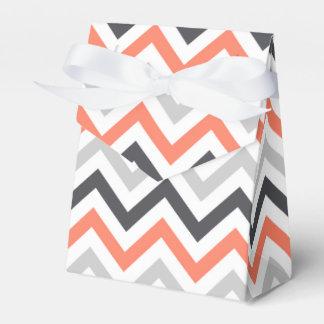Coral Orange, Gray, Black, & White Chevron Favour Box