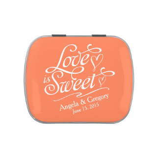 Coral Orange Love is Sweet Wedding Candy Tin