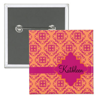 Coral Orange & Magenta Arabesque Moroccan 15 Cm Square Badge