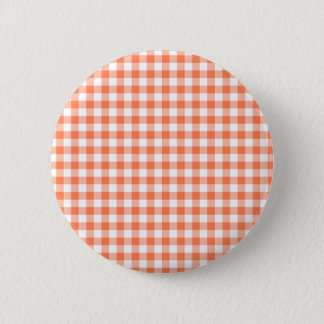 Coral (Orange Pink) and White Gingham 6 Cm Round Badge