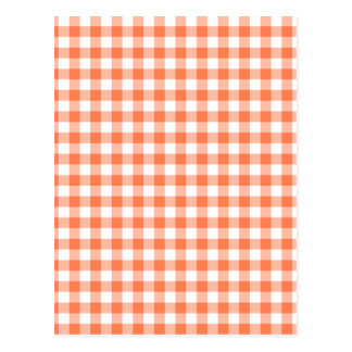 Coral (Orange Pink) and White Gingham Postcard