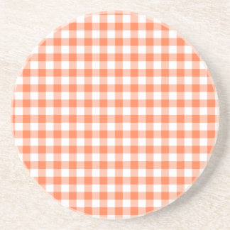 Coral (Orange Pink) and White Gingham Sandstone Coaster