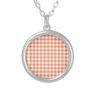 Coral (Orange Pink) and White Gingham Silver Plated Necklace