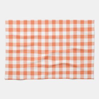 Coral (Orange Pink) and White Gingham Tea Towel
