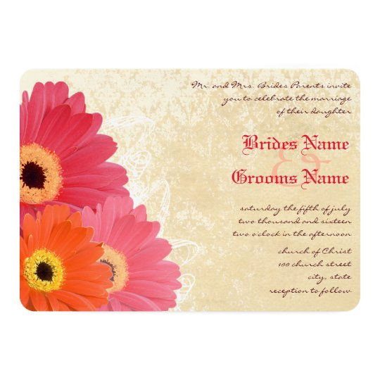 Coral Orange Pink Gerber Daisy Wedding Invitation