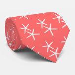 Coral Orange-Pink White Starfish Pattern Tie