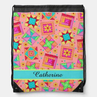 Coral Orange Quilt Patchwork Block Art Name Drawstring Bag