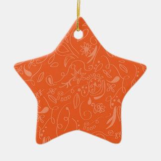 Coral Orange, Salmon, Floral Swirls Ceramic Star Decoration