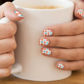 Coral Orange, Teal, Turquoise, White Argyle Minx Nail Art