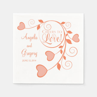 Coral Orange White Cheers to Love Heart Wedding Disposable Serviette