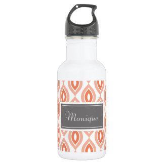 Coral, Orange, White Pattern Custom Water Bottle