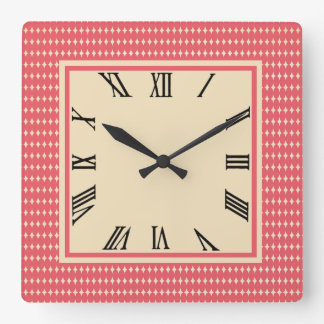 Coral Ovals Square Wall Clock