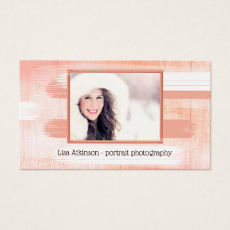 Coral Painted Wood Photographer Business Card