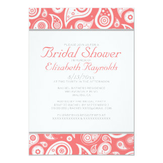 Coral Paisley Bridal Shower Invitations