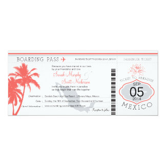 Coral Palm Tree Mexico Boarding Pass Wedding 10 Cm X 24 Cm Invitation Card
