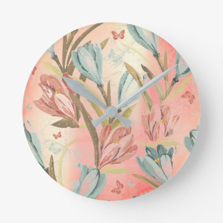 Coral Pastel Floral Pearly Blue Ivory Butterfly Round Clock