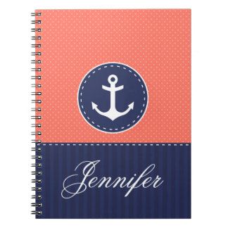 Coral Pattern Blue Anchor Personalized Name Spiral Notebook