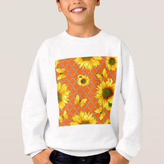 Coral Pattern Yellow butterflies Sunflowers Sweatshirt